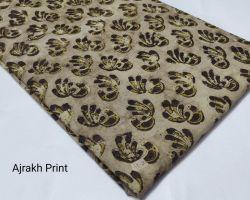 Vegetable dyed handblock ajrakh print cotton dress material 1 meter for kurti , plazo , nighty , dress code 5