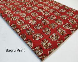 Bagru print handblock cotton dress material red  1 meter code 1