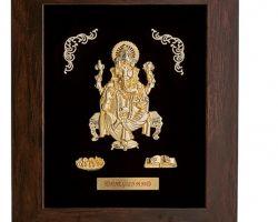 Gold foil ganesh ji framed 6.5×5.5 inches
