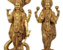 Panchdhatu vishnu laxmi idol panchdhatu laxmi narayan idol 10 inches