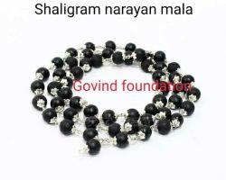 Saligram mala with silver cap narayan mala original shaligram Silver caping mala 54 beads shaligram rosary