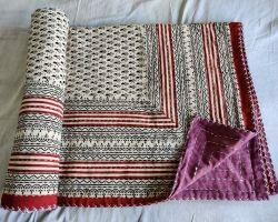 Dohar double bed kantha hand work handblock organic dye dohar AC quilt code 2