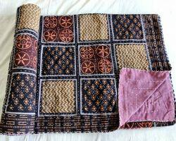 Dohar double bed kantha hand work handblock print organic dye dohar AC quilt code 3