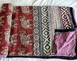 Dohar double bed kantha hand work handblock print organic dye dohar AC quilt code 4