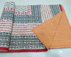Dohar double bed kantha hand work handblock print organic dye dohar AC quilt code 5