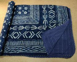 Dohar double bed kantha hand work handblock print organic dye dohar AC quilt code 6
