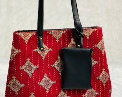 Handbag handblock print shoulder bag red