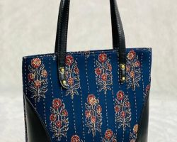 Handbag block print handbag shoulder bag blue