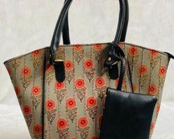 Handbag handblock shoulder bag purse bag  red code 3