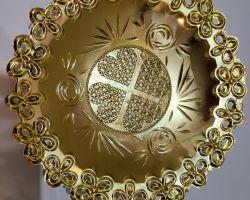 Golden bowl plate round golden designer deep bowl type plate