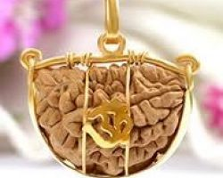 1 face rudraksh with gold caping 1 mukhi rudraksha with gold caping om