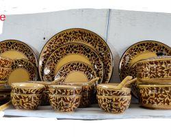 Ceramic dinner set jaipur pottery dinner set golden ceramic dinner set 41 piece