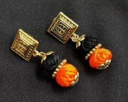 Earrings stone with oxidise saffron black earrings