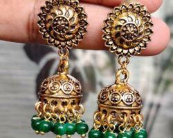 Jhumka golden oxidise green stone jhumka