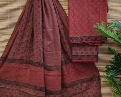 Pure cotton handblock print dress material 3 piece pure cotton  red handblock print suit material
