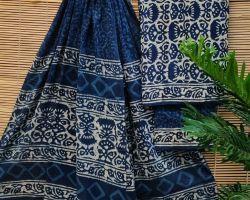 Pure cotton handblock print dress material 3 piece cotton handblock print suit material blue