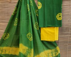 Pure cotton suite material 3 piece cotton handblock print dress material green and yellow