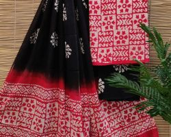 Pure cotton dress material 3 piece cotton handblock print suit material red and black