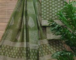 Pure cotton dress material 3 piece cotton handblock print suit material mehandi green colour