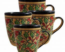 Coffee cup ceramic hand painted coffee mug set of 4 red print