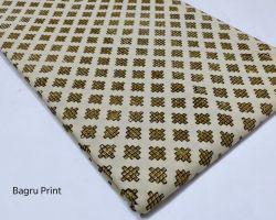 Cotton printed running material hina block 1 meter  handblock bagru print running dress material