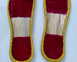Laddu gopal charan paduka decorative wooden sleeper for laddu gopal red   5 inches