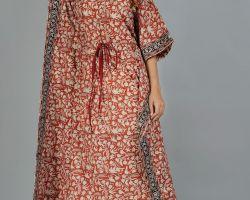 Kaftan long cotton vegetable dyes colour handblock print  long kaftan red  code 5