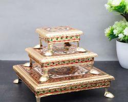 Chouki wooden golden meenakari choki set of 3