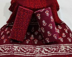 Cotton handblock print suit material with chiffon dupatta code 1