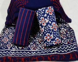 Cotton handblock print suit material with chiffon dupatta code 2