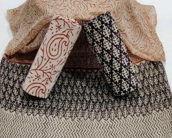 Cotton handblock print suit material with chiffon dupatta code 4