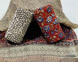 Cotton handblock print suit material with chiffon dupatta code 5