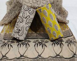 Cotton handblock print suit material with chiffon dupatta code 6