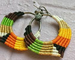 Handmade earrings with macrum thread and metal multicolour thread earrings  code 2
