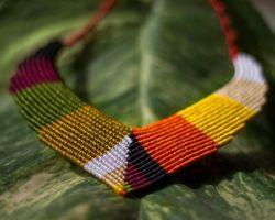 Thread necklace multicolour macrum thread necklace