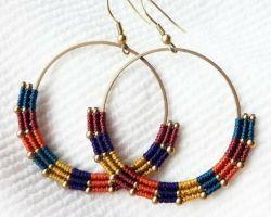Earrings metal and macrum thread code 3