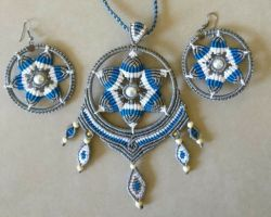 Handmade thread necklace with earrings