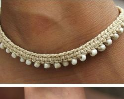 Anklet handmade thread anklet with beads white