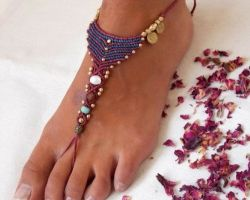 Anklet handmade thread with beads anklet up to toe
