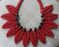 Handmade thread necklace beautiful handmade macrum thread necklace red