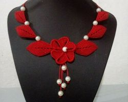 Handmade thread necklace handmade thread with pearl necklace red