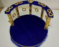 Laddu gopal bed cum singhasan round  decorative bed blue