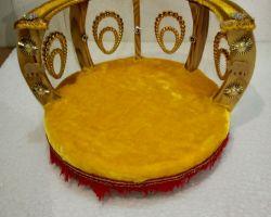 Laddu gopal bed cum singhasan decorative bed for laddu gopal round shape yellow