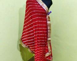 Lehriya dupatta with gota Patti border lahriya dupatta red