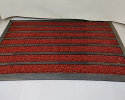 Doormat red and black rubber strips 24×15 inches