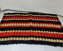 Doormat red and black lining cotton 22×15 inches