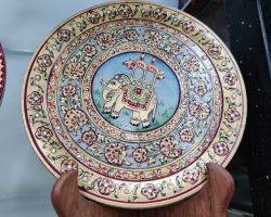 Marble plate decorative painting on marble plate with stand