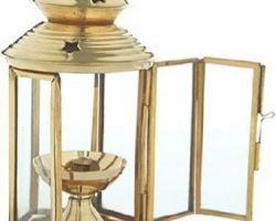 Brass lantern diya akhand brass glass lantern round shape