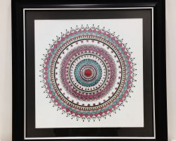 Mandala art Canvas painting with frame 16×16 inches