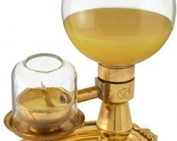 Akhand brass glass Deepak akhand diya with glass storage 24 hour burning capacity